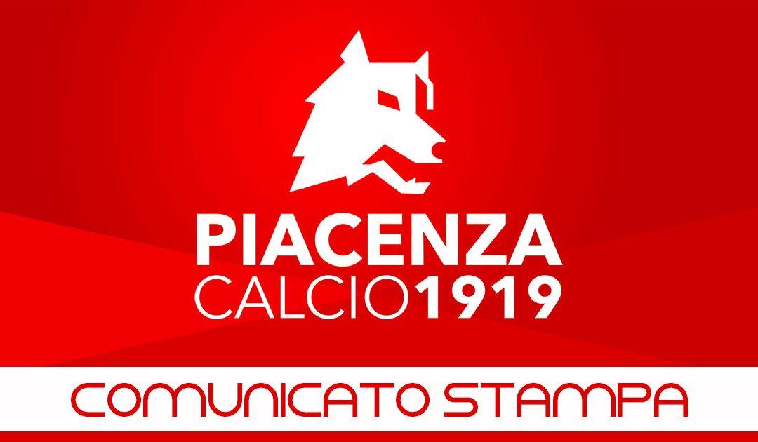Comunicato Piacenza Calcio del 5 dicembre 2018