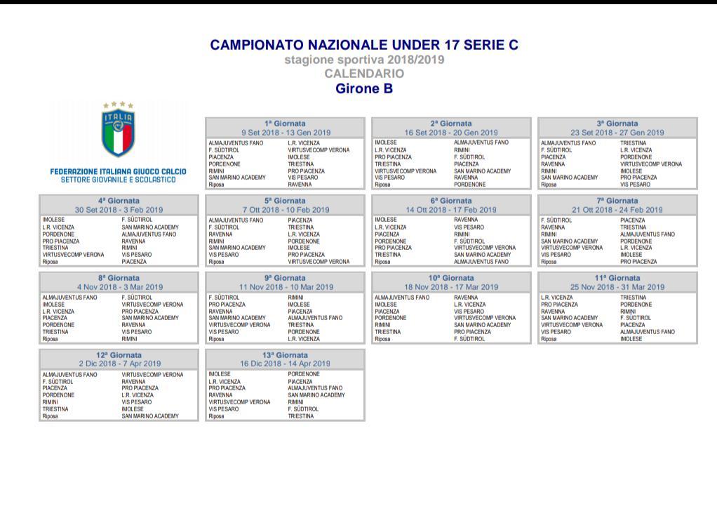 Calendario Nazionale Calcio.Definiti I Calendari Di Under 17 E Under 15