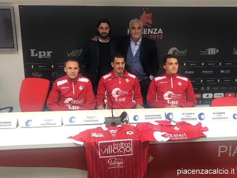 Bachini, Ferrari e Terrani sono giocatori del Piacenza Calcio