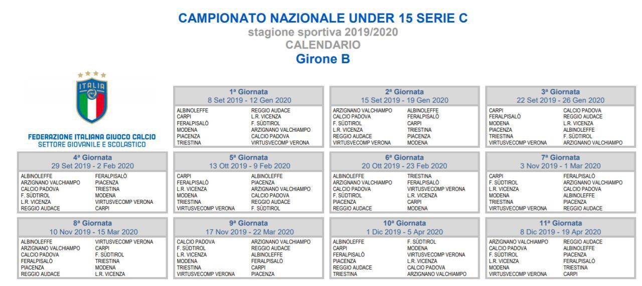 Calendario Sportivo.Calendari Settore Giovanile 2019 20